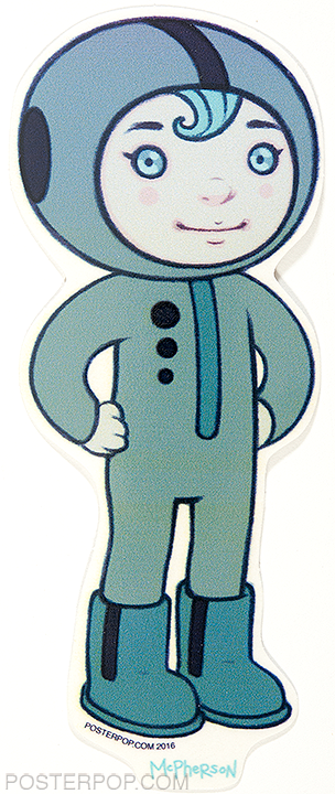 Artist Tara McPherson Lucius Tall Poster Pop Sticker. Young Boy Character, Space Suit