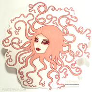 Artist Tara McPherson Inertia Poster Pop Sticker. Medusa Tenticles, Hair