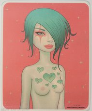 Artist Tara McPherson Don't Forget to Remember Poster Pop Sticker. Girl with Pinned Sticky Stick It Notes to Remind Her