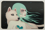 Artist Tara McPherson The Wanderers Sticker, Girl with White Wolf Dog
