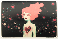 Artist Tara McPherson Supernova Poster Pop Sticker, Space, Pink Hair, Girl, Open Heart, Cosmic