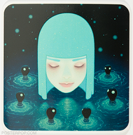 Artist Tara McPherson Umibozu Lake Sticker, Girl in Water surround by Water Creatures