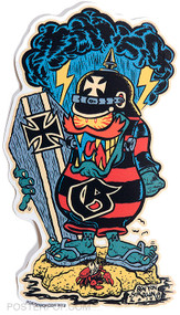 Ben Von Strawn Surf Gremlin Sticker. Surfer Monster, Coffin Lid, Surfboard, Cloud, Kaiser, German, WWI