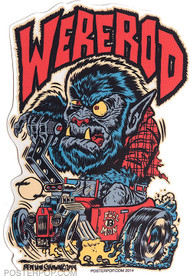 Ben Von Strawn Were-Rod Sticker, Werewolf, Wolf, Monster, Hotrod, Hot Rod, Monster Shifter, Burn Out, Smoking Tires, Smoking