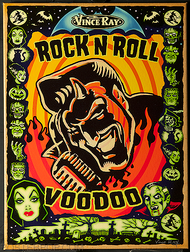 Vince Ray Rock n Roll Devil Fine Art Print on Canvas, Rock and Roll, Voodoo, Famous Monsters, Black Cat, Witch, Mummy, Zombies, Bride of Frankenstein, Monsters