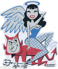 DYS56 Derek Yaniger Salvation Damnation Sticker Devil Angel Halo Fishnets Wings Horns Triton Pinup