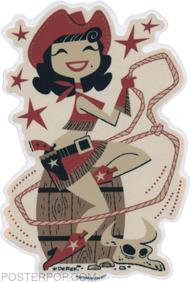 Derek Yaniger Rootin Tootin Cowgirl Sticker Cowboy Round-up Lasso, Rope, Cowboy Hat, Boots, Barrel, Pistol, Revolver, Rodeo, Cow Skull, Steer Cattle, Patsy Cline Western Wild West
