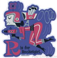 Derek Yaniger R is for Rocketgirl Sticker Future Futuristic Retro Modern Outer Space Spacesuit Rocket Pack Laser Gun Ray Helmet Radar Antennae Alphabet Letter R