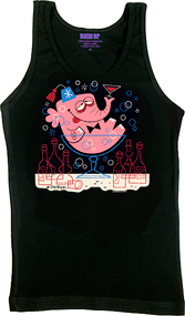 Derek Yaniger Pinky Woman's Tank Top, Drunk, Elephant, Martini, Glass, Drinking, Party, Hungover, Fez, Bottles, Alcohol, Wasted, Fun, Funny, Retro, Burlesque, Pinup, Poster Pop