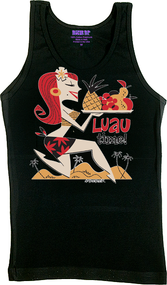 Derek Yaniger Luau Time Woman's Tank Top and Tee, Hula Girl, Hawaii, Hawaiian, Islands, Paradise, Feast, Sexy, Redhead, Girl, Pinup, Skirt, Hair Flowers, Fruit, Food, Dinner