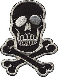 Skull Silver on Black Patch Medium 2.75