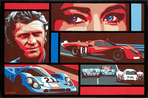 Marco Almera Steve McQueen Le Mans Original Painting. 24H Le Mans, Ferrari, Porsche 917