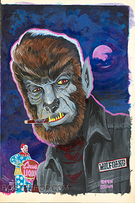 OGBV07 Ben Von Strawn Young Wolfgang Original Painting, Wolfman, Circus Liquor, Valley, Cigarette, Jacket, Namebadge, Patch