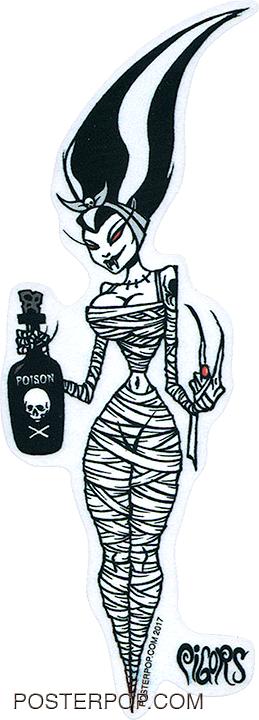 PGS63 Pigors Mummy Bride Sticker. Bride of Frankenstein, Poison, Alcohol, Cartoon, Monster