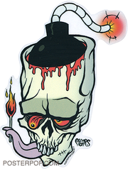 PGS61 Pigors Light It Up Sticker, Skull, Bomb, Lit Fuse, Licking Fire, Match, Flame, Bombed, Wasted