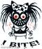 Artist Pigors I Bite Sticker, Monster, Lil Monster, Biting, Teeth, Razor, sharp
