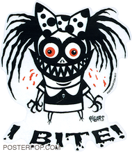 Artist Pigors I Bite Sticker, Monster, Lil Monster, Biting, Teeth, Razor, sharp
