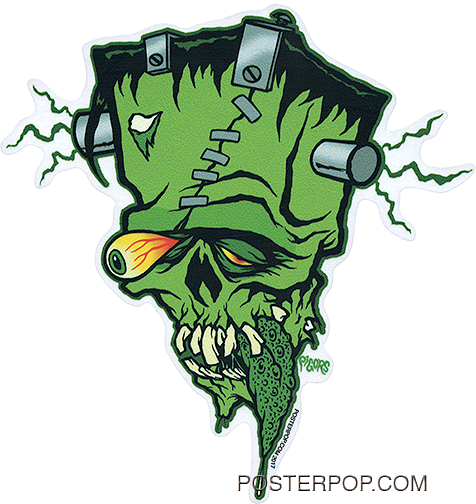 Artist Eric Pigors Franken-Tongue Sticker, Frankenstein, Monster, Cartoon, Silly, Rat Fink, Pop Eye