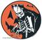 Artist Eric Pigors Franken-Pumpkin Moon Sticker, Great Pumpkin, Halloween, Frankenstein, Monster, Skeleton, Costume, Trick or Treat, Funny, Cartoon, Happy, Humour, Horror