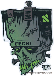 Artist Eric Pigors Franken-Eech Sticker, Frankenstein, Head, Face, Tech!, Mad Magazine, Strews, Bolts, Fangs