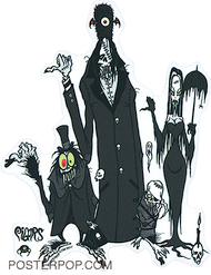 Artist Eric Pigors Hitchkiking Ghouls Sticker, Hitch Hiking Ghosts, Disney, Parody, Haunted Mansion Ride, Monster, Cartoon, Funny, Humor, Morticia, Umbrella, Thumbs, Thumbing