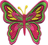 Pink Green Butterfly Patch Image