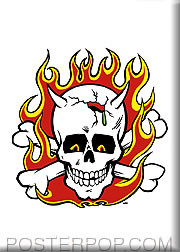 Kozik Flaming Skull Fridge Magnet Image