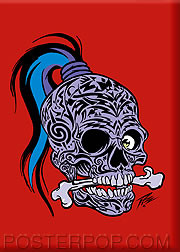 Pizz Tattooed Skull Fridge Magnet Image