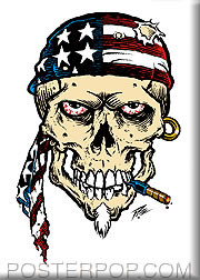 Pizz American Skull Fridge Magnet Image