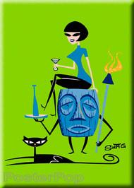 Shag Girl On Tiki Fridge Magnet Image
