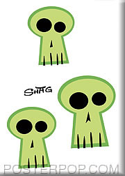 Shag Green Skulls Fridge Magnet Image