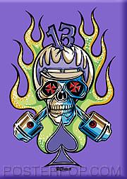 Von Franco Cycle Skull Fridge Magnet Image