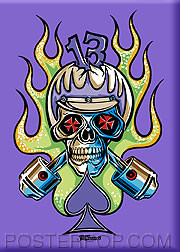 Von Franco Cycle Skull Fridge Magnet Image