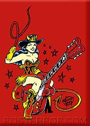 Vince Ray Guitar Girl Fridge Magnet Image
