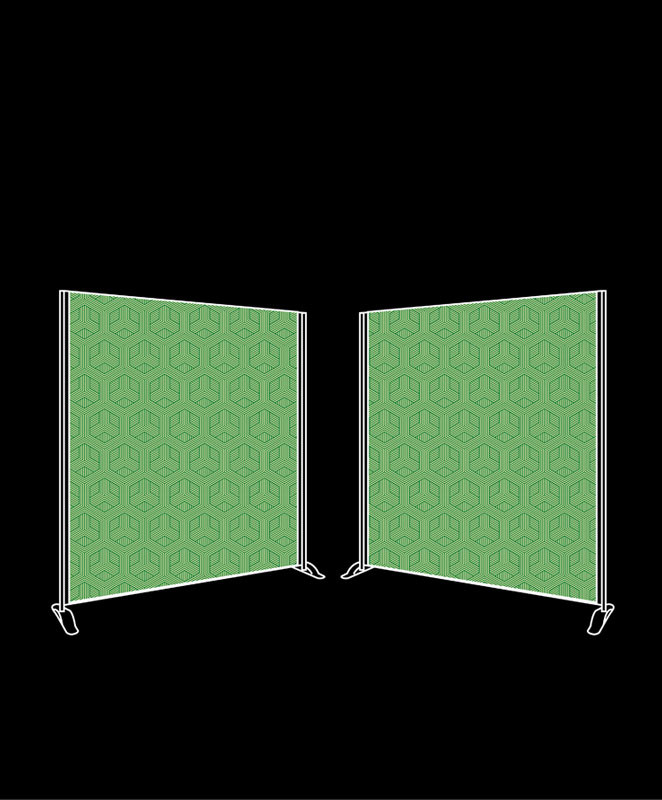 Dual 2m x 2m freestanding fabric backdrop package for 2m x 2m bett