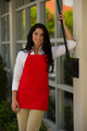 Red Three Pocket Restaurant Quality Bib Apron with Adjustable Neck Strap - Available in Two Great Unisex Sizes Item # 350-200 - Best Seller!
