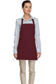 "Maroon Criss Cross Back Three Pocket Restaurant Quality Bib Apron 24"" L x 28"" W - Item # 350-200XX"