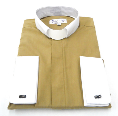 Hidden Button Clergy Shirt With Tab Collar In Beige
