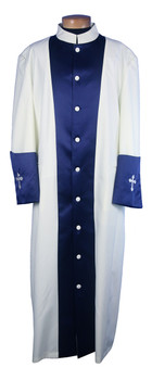 122. Men's Clergy Robe in Ivory and Blue