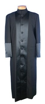 CLOSEOUT - 119. Men's Clergy Robe in Black with Black Satin