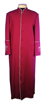 CLOSEOUT - 108. Men's Clergy Robe in Burgundy and Silver Trim