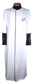 004. Men's Clergy Robe in White and Black