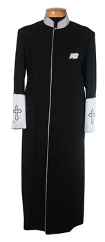 003.  Men's Clergy Robe in Black and Silver