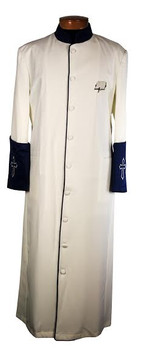 117. Men's Clergy Robe in Creme and Blue