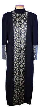 CLOSEOUT - 127. Men's Clergy Robe in Black with Gold Brocade