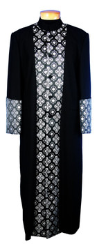 CLOSEOUT - 128. Men's Clergy Robe in Black and Silver Brocade
