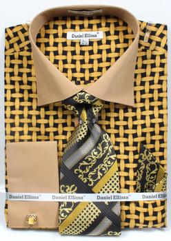 DS3782P2: Designer Dress Shirt, Tie, Handekerchief, & Cufflink Set - (5) Colors Available