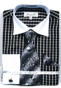 FRV4131P2: Designer Dress Shirt, Tie, Handekerchief, & Cufflink Set - (4) Colors Available