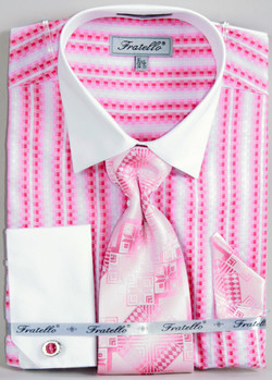 FRV4130P2: Designer Dress Shirt, Tie, Handekerchief, & Cufflink Set - (5) Colors Available