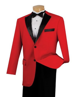 2-Button Suit With Contrast Sateen Lapel In Red
